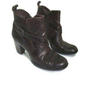 Born  Shola Espresso Strappy Buckle Leather Boots